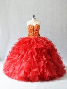 Suitable Floor Length Red 15th Birthday Dress Sweetheart Sleeveless Lace Up