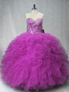 Pretty Sleeveless Floor Length Beading and Ruffles Lace Up Quinceanera Dress with Fuchsia