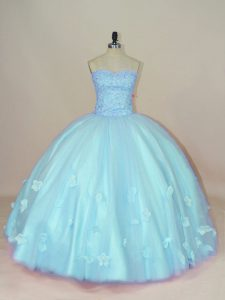 Floor Length Aqua Blue 15th Birthday Dress Tulle Sleeveless Beading and Hand Made Flower