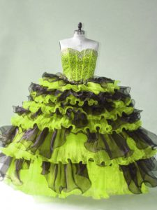 Sweetheart Sleeveless Lace Up Vestidos de Quinceanera Yellow Green Organza