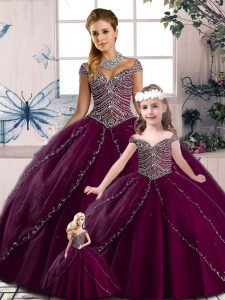 Suitable Quince Ball Gowns Purple for Sweet 16 and Quinceanera with Beading Brush Train