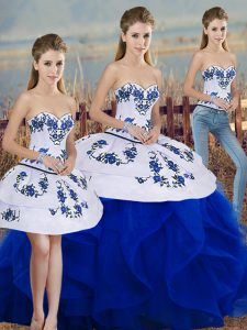 Embroidery and Ruffles and Bowknot Quinceanera Gown Royal Blue Lace Up Sleeveless Floor Length