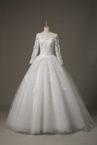 White Lace Up Scoop Beading and Lace Bridal Gown Tulle 3 4 Length Sleeve Brush Train