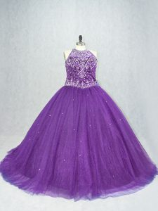 Popular Purple Lace Up Scoop Beading Sweet 16 Dresses Tulle Sleeveless Brush Train