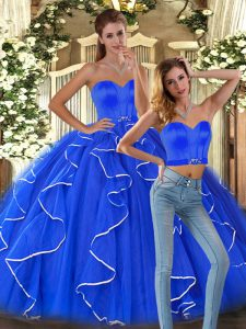 Blue Sweetheart Neckline Ruffles Vestidos de Quinceanera Sleeveless Lace Up