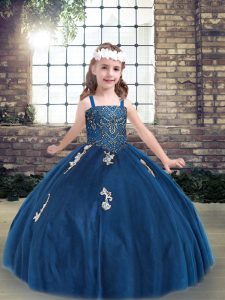 Blue Straps Lace Up Appliques Kids Formal Wear Sleeveless