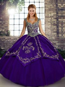 Modern Purple Ball Gowns Tulle Straps Sleeveless Beading and Embroidery Floor Length Lace Up Sweet 16 Quinceanera Dress