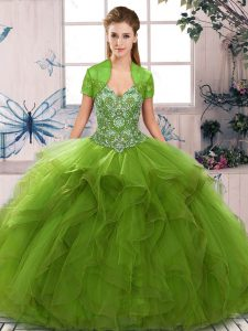 Flare Tulle Sleeveless Floor Length Sweet 16 Dresses and Beading and Ruffles
