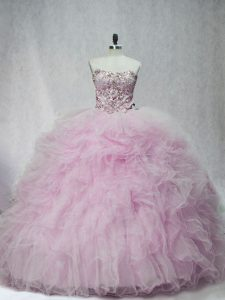 Sleeveless Brush Train Lace Up Beading and Ruffles Sweet 16 Quinceanera Dress