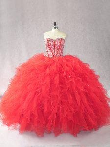 Smart Red Tulle Lace Up Sweetheart Sleeveless Floor Length 15 Quinceanera Dress Beading and Ruffles