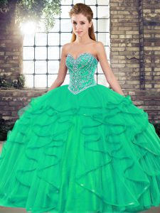 Turquoise Lace Up 15 Quinceanera Dress Beading and Ruffles Sleeveless Floor Length