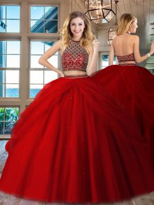 Shining Red Tulle Backless Halter Top Sleeveless Floor Length Quince Ball Gowns Beading