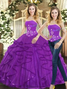Floor Length Two Pieces Sleeveless Purple 15 Quinceanera Dress Lace Up