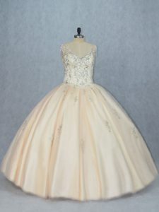 Glamorous Sleeveless Lace Up Floor Length Beading Quinceanera Dresses