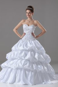 Sweetheart Sleeveless Brush Train Lace Up Wedding Gowns White Taffeta