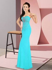 Sleeveless Chiffon Floor Length Zipper Pageant Dress for Teens in Aqua Blue with Beading