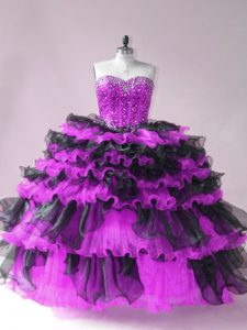 Black And Purple Ball Gowns Organza Sweetheart Sleeveless Beading and Ruffled Layers Floor Length Lace Up Quinceanera Gowns