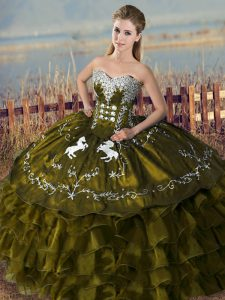 Floor Length Olive Green Quince Ball Gowns Organza Sleeveless Embroidery and Ruffles
