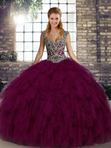 Ball Gowns Quince Ball Gowns Dark Purple Straps Organza Sleeveless Floor Length Lace Up