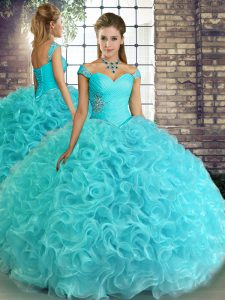 Aqua Blue Fabric With Rolling Flowers Lace Up Off The Shoulder Sleeveless Floor Length Sweet 16 Dress Beading