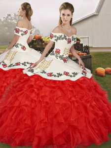 Top Selling White And Red Lace Up Ball Gown Prom Dress Embroidery and Ruffles Sleeveless Floor Length