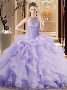 Hot Sale Sleeveless Beading and Ruffles Lace Up 15th Birthday Dress with Lavender Sweep Train