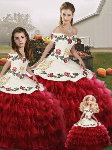 Organza Sleeveless Floor Length Quince Ball Gowns and Embroidery and Ruffled Layers