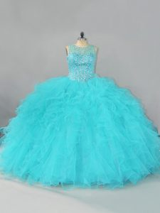 Superior Aqua Blue Lace Up Quinceanera Gowns Beading and Ruffles Sleeveless Floor Length
