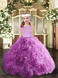Lilac Ball Gowns Scoop Sleeveless Fabric With Rolling Flowers Floor Length Zipper Beading Little Girls Pageant Dress