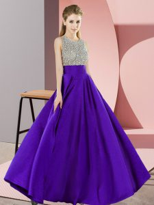 Graceful Purple Evening Dress Prom and Party with Beading Scoop Sleeveless Backless