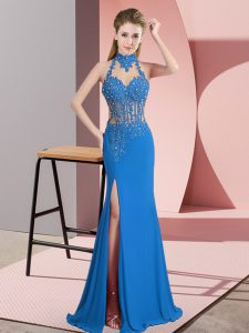 Shining Chiffon Halter Top Sleeveless Backless Beading Pageant Dress Womens in Blue