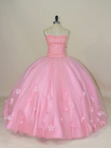 Pretty Baby Pink Sleeveless Floor Length Beading and Hand Made Flower Lace Up 15th Birthday Dress