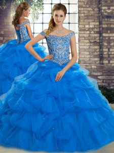 Fantastic Sleeveless Brush Train Lace Up Beading and Pick Ups Ball Gown Prom Dress