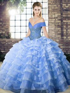 Exquisite Blue Quinceanera Gown Organza Brush Train Sleeveless Beading and Ruffled Layers
