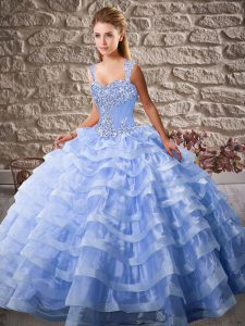 Lovely Lace Up Sweet 16 Dress Lavender for Sweet 16 and Quinceanera with Beading and Ruffled Layers Court Train