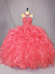 Luxury Sleeveless Floor Length Beading and Ruffles Zipper 15th Birthday Dress with Coral Red