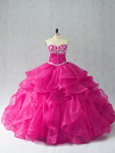 Exceptional Fuchsia Sleeveless Floor Length Beading and Ruffles Lace Up Sweet 16 Quinceanera Dress