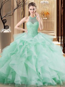 Organza Halter Top Sleeveless Brush Train Lace Up Beading and Ruffles Quinceanera Gowns in Apple Green