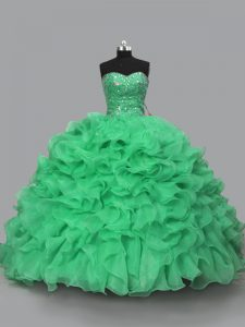 Green Ball Gowns Halter Top Sleeveless Organza Floor Length Lace Up Beading and Ruffles 15th Birthday Dress