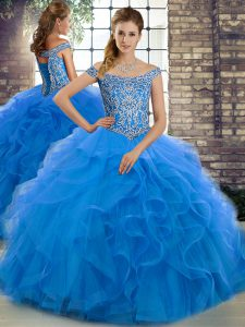 Fashion Blue Sleeveless Tulle Brush Train Lace Up Quinceanera Dresses for Military Ball and Sweet 16 and Quinceanera