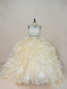 Sleeveless Brush Train Zipper Beading and Lace Sweet 16 Quinceanera Dress