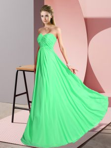Sweetheart Sleeveless Homecoming Dress Floor Length Ruching Green Chiffon