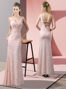 Sleeveless Floor Length Beading and Lace Criss Cross Prom Gown with Baby Pink