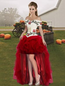 Elegant Wine Red Tulle Lace Up Off The Shoulder Sleeveless High Low Homecoming Dress Embroidery