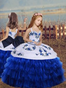 Popular Floor Length Royal Blue Evening Gowns Organza Long Sleeves Embroidery and Ruffled Layers
