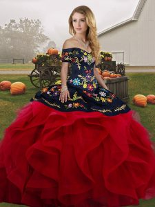 Ball Gowns Quince Ball Gowns Red And Black Off The Shoulder Tulle Sleeveless Floor Length Lace Up