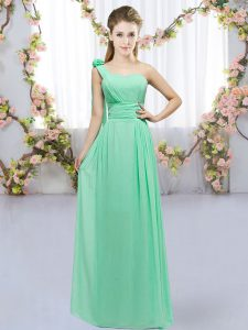 Fantastic Turquoise Lace Up One Shoulder Hand Made Flower Bridesmaid Dress Chiffon Sleeveless