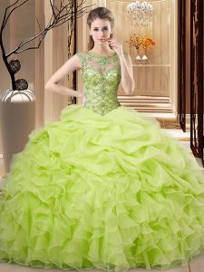 Sleeveless Organza Floor Length Lace Up 15 Quinceanera Dress in Yellow Green with Beading and Ruffles and Pick Ups