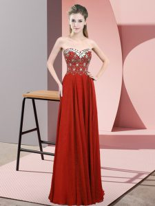 Colorful Rust Red Sweetheart Zipper Beading Prom Dresses Sleeveless