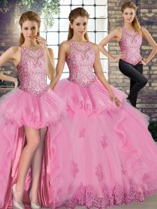 Sleeveless Floor Length Lace and Embroidery and Ruffles Lace Up 15 Quinceanera Dress with Rose Pink